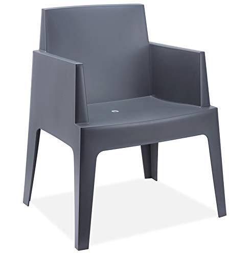 Alterego - Chaise design 'PLEMO' grise foncée en matière plastique