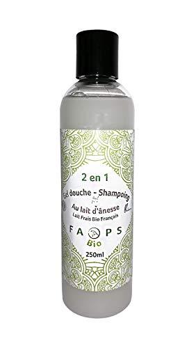 Gel-Douche-Shampoing 2 en 1 avec 20% de Lait d'Anesse frais Bio Français. 100% Naturel, Végétal.Sans Sulfates,Silicones,Parabens,EDTA,MIT, Alcool,Colorants,OGM,huiles minérales,huile de palme.250 ML