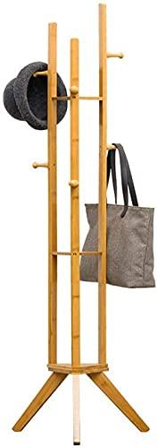 MAIGOU 6 Ganchos Estante de 3 Capas Sólido de bambú de bambú Piso de pie Capa de pie Rack Muebles para el hogar Ropa de Almacenamiento Colgante Baifantastic