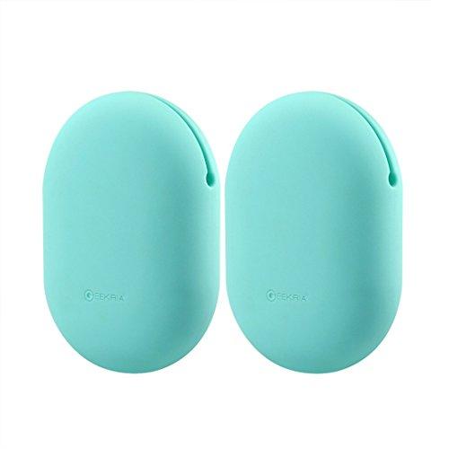 Geekria Silikon-Hülle für Beats PowerBeats, Jabra Sport Pace, Bose SoundSport, Sennheiser In-Ear, Ohrhörer-Schutz Squeeze Tasche/Tasche weiche Kopfhörer-Aufbewahrungstasche 2pcs(Size S) Mint Green(S)