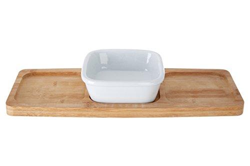 Premier Housewares Coupelle apéritif carrée sur plateau Porcelaine/bambou Blanc