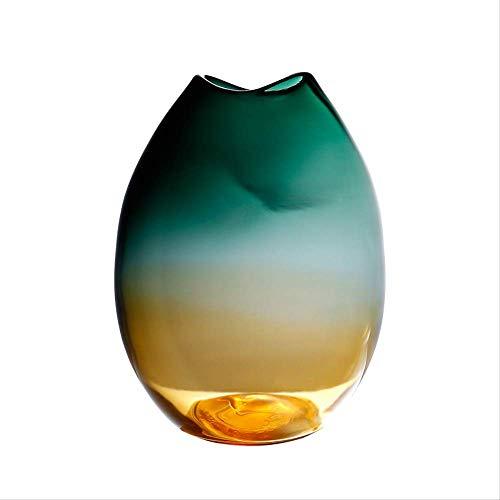 Decoratie, Handgeblazen Handgemaakte Glas Vaas Modern Gradient Verdikte Kleur Hydroponische Nep Bloem Arrangement