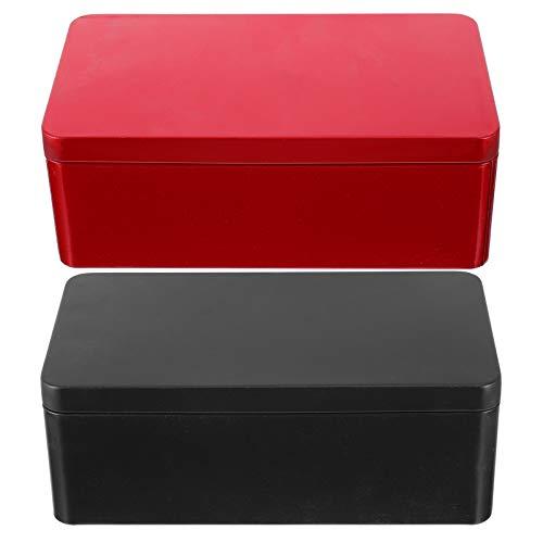 Cabilock 2 Stück Blechdose Rechteckige Scharnier Container Metalldose mit Deckel Tee Dosen Container Leer Mini Kerzen Aufbewahrungsbehälter für Zuhause Rot Schwarz