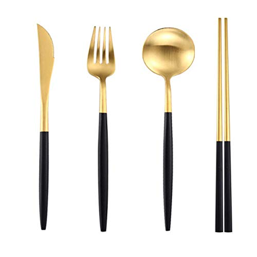 Stainless Steel Steak Knife, Fork And Spoon Set Three-Piece Full Set Of Household Tableware Environmental Protection And Health-Black Gold Four-Piece Set (Knife, Fork, Spoon And Chopsticks)
