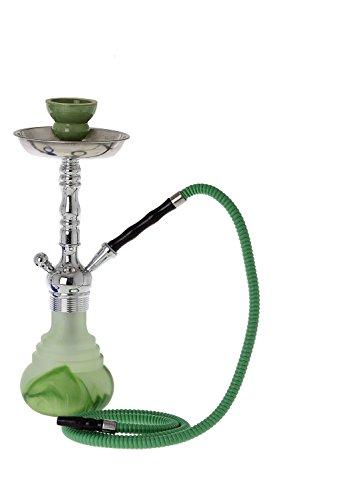 Luxus LED 1 Schlauch Shisha Wasserpfeife 1,5 cm Rauchsäulen Durchmesser LED Bowl Glas Rauchsäule 3 Fach verschraubt Farbe grün