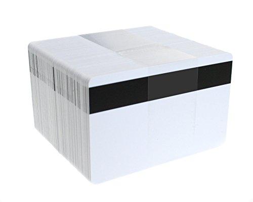 Tessere bianche, in PVC, con banda magnetica Hi-Co, da 760 micron, formato carta di credito (CR80), confezione da 100
