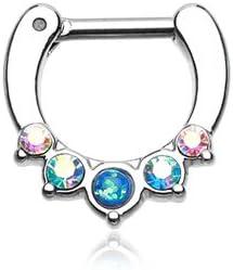 WildKlass Jewelry Septum Clicker Opal Aurora Borealis 16g 1/4