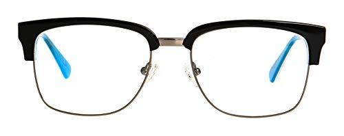GLOBAL VISION Montatura per occhiali da vista da uomo combinato (acetato/metallo) - Made in Italy (C4 - Black/Blue/Gun)