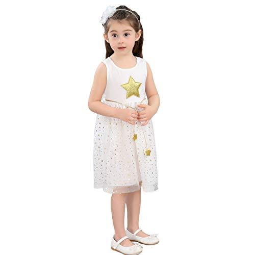 PanpanBox Niñas Vestido Princesa Sin Mangas Tops con Estrella Print Lentejuelas Gasa Vestido Cintura Alta Casual para 1-9 años