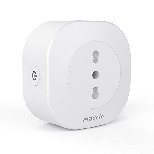 Maxcio Presa Intelligente WiFi, Smart Presa Italiana Compatibile con Alexa Echo e Google Home, Controllo Vocale, Telecomando APP, Funzione Timer, Energia Monitor, Non Richiesto Hub (1 Pack)
