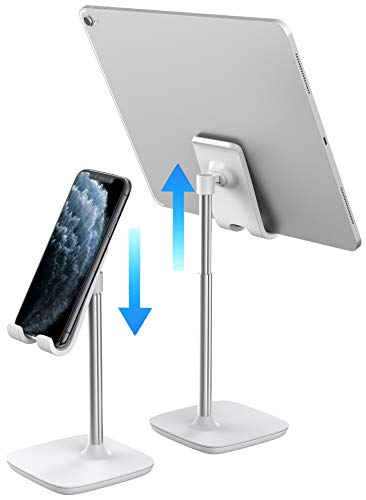 Aduro Elevate Phone & Tablet Holder Stand, Adjustable Height Cell Phone Stand Holder for Desk Compatible with iPhone iPad Galaxy All Phones & Tablets (White)