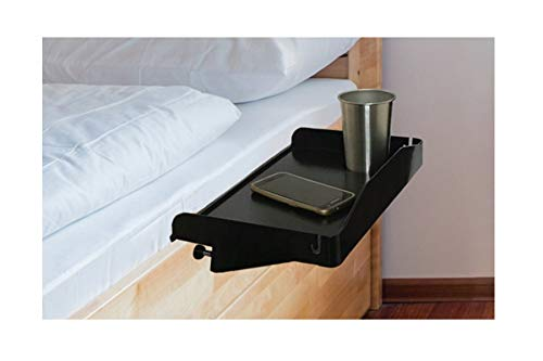Bedside Shelf for Bed – College Dorm Room Clip On Nightstand with Cup Holder \u0026amp; Cord Holder - Nightstand for Students – Bunk Bed Shelf for Top Bunk – Kids Nightstand for Bedroom (Plastic, Black)