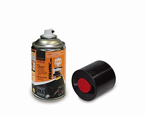 Foliatec Auspuff 2K Lackspray für das Auspuffendrohr- und/oder Blende, Sportwagenoptik, Schwarz Glänzend, 250 ml