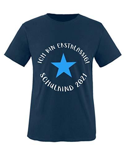 Comedy Shirts - Ich bin erstklassig! Schulkind 2020 - Jungen T-Shirt - Navy/Weiss-Blau Gr. 134/146