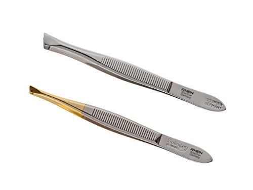 Solinger Pinzetten zur Haarentfernung- Augenbrauenpinzetten- Made in Solingen- im 2-er Set silber & goldsilber, ca. 8cm lang,rostfreier Edelstahl