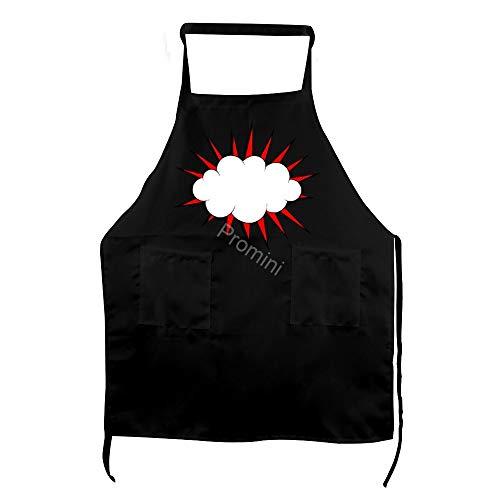 Promini 100% Polyester Adult Apron, Keuken Apron, Koken Bakken Schorten Met Twee Zakken, Chef Schort Voor Mannen En Vrouwen - Comic-Boom-Explosie (9)