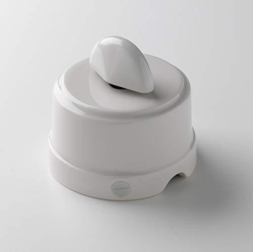 Klartext - Interruttore/Deviatore a rotazione BELLE ÉPOQUE in stile vintage per installazione con cavo tessile, in pregiata porcellana artigianale, colore bianco lucido