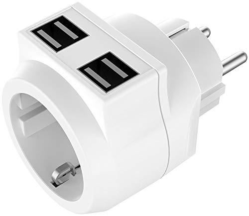 reVolt Stecker mit USB: 2in1-Steckdose mit 4-Fach-USB-Netzteil (3,6 A / 18 Watt), bis 3.680 W (USB Adapter)