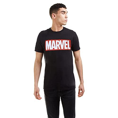 Marvel Comics-Core Logo-Mens, T-Shirt Homme, Noir, Large