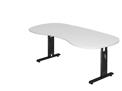 DR-Büro Schreibtisch höhenverstellbar nierenform 200 x 100 cm - Höhe 65-85 cm - Bürotisch mit schwarzem Gestell - 7 Farben, Farbe:Weiss