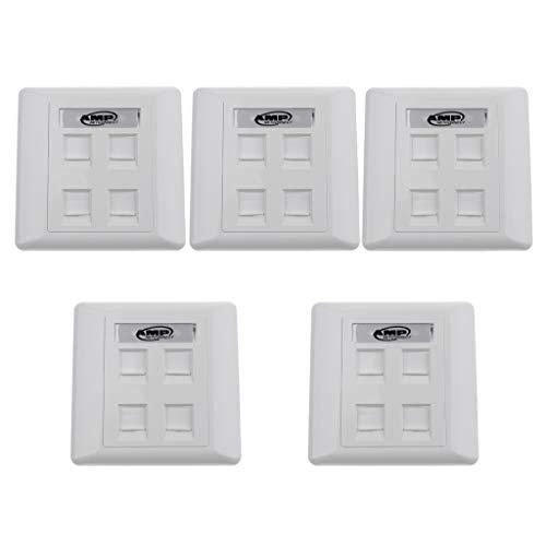 freneci 5 x 4 port vit väggplatta med RJ45 inline kopplare Ethernet nätverksuttag