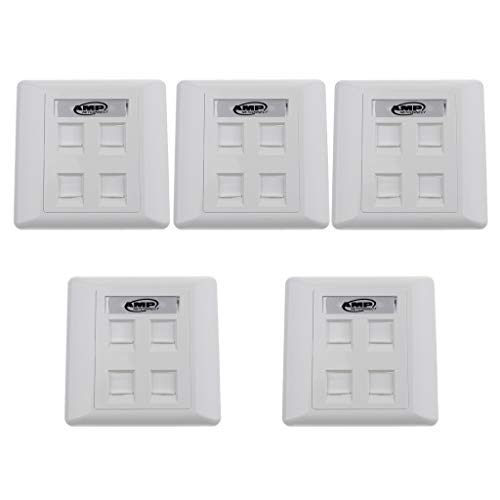 freneci 5Pcs Quad Data Wall Outlet Face Plate 4 Puertos RJ45 Red Ethernet Data Socket