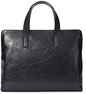 Black Briefcase Men's Business Computer Bag File Bag Large Capacity Casual Simple Leather Bag Handbag for Youth