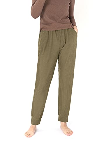 Women's Active Drawstring Joggers Pants Elastic Waist Waffle Knit Trousers Athletic Sweatpants with Pockets Army Green