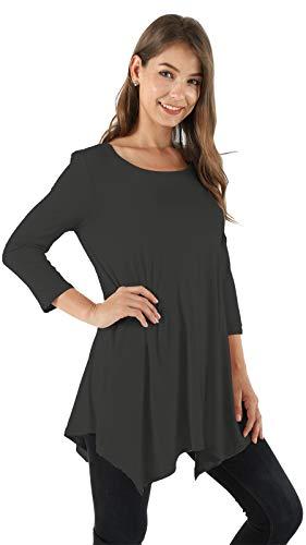 Ecupper Women Plus Size 3/4 Sleeve Tunic Tops Loose Basic Irregular Tunic Shirt (6XL, Grey)
