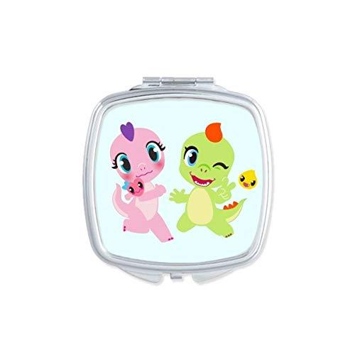 DIYthinker Dinosaure Kingdom Love You carré Miroir de Maquillage Compact Portable Mignon la Poche miroirs Cadeau