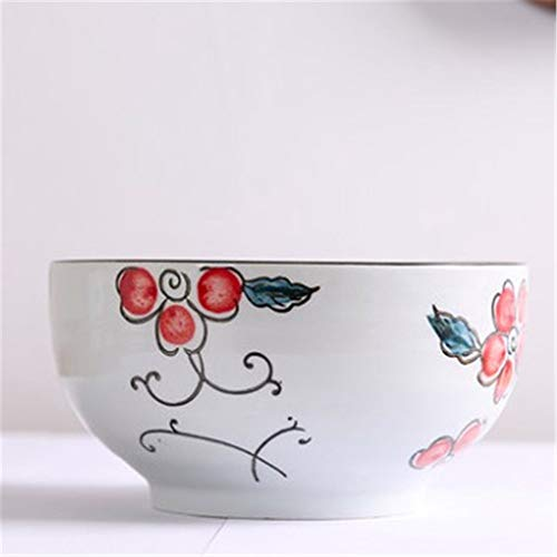 GJDBBLY Bol Cerámica Cuencos Creative Tableware Pintado A Mano Porcelana Japón Estilo Big Noodle Sopa Sopa Bowl Food Container 17.5 * 9cm como se Muestra