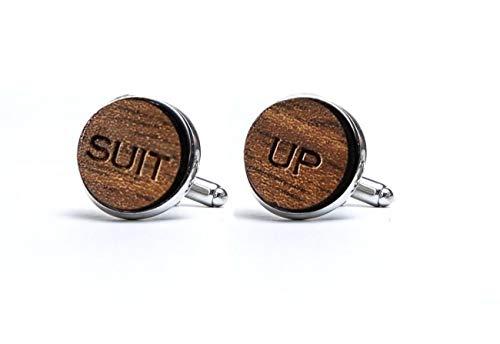 Suit Up Gemelos de madera naturales gemelos clsicos para camisa de hombre, regalo para hombres, novio mejor M