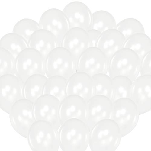 Premium Luftballons Weiß Metallic – Heliumluftballons Weiss • 100 Stück • Perlen Weiß Größe 30cm • Metallic Luftballons dienen als hochwertige Deko für Hochzeit, Geburtstag,usw. • extra reißfest