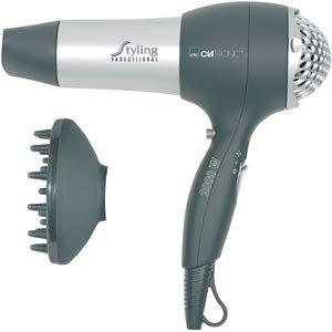 Haartrockner mit Diffuser und Formdüse Fön Haarfön Haar Föhn Haarföhn Harfön Kaltstufe (leistungsstarke 2000 Watt + silber/grau)