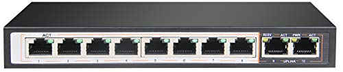 Conmutador Gigabit PoE de 10 canales.