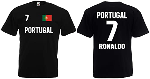 Portugal Ronaldo Herren T-Shirt EM 2020 Trikot Look Style Shirt Schwarz L