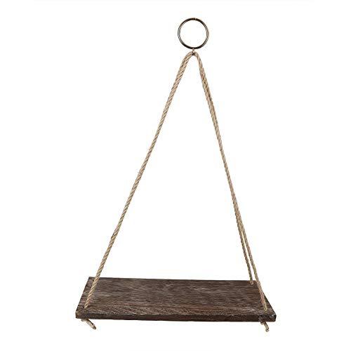 TOPINCN 13,8 * 5,5 inch drijvende planken met touw houten opknoping plank boek plank bloempot balkon tuin opknoping rack