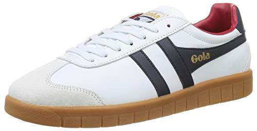 Gola Herren Hurricane Leather Sneaker, White/Navy/Deep Red/Gum, 42 EU
