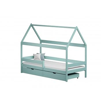 Children's Beds Home - Betthimmel Hausform Einzelbett – Teddy – Einzelbett – Teddy – 200 x 90 cm, Türkis, zwei kleine 11 cm Schaumstoff/Kokos/Buchweizen-Matratze