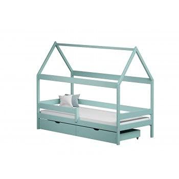Children's Beds Home - Cama individual en forma de casa con dosel - Teddy - Cama individual - Teddy - 160x80, turquesa, dos pequeños, ninguno