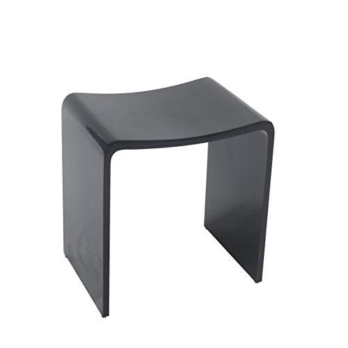 KKR Design Badhocker Duschhocker aus Mineralguss in den Farben Weiß, Grau und Schwarz sowie in den Oberflächen Matt und Glänzend verfügbar, Oberfläche:Schwarz Glänzend