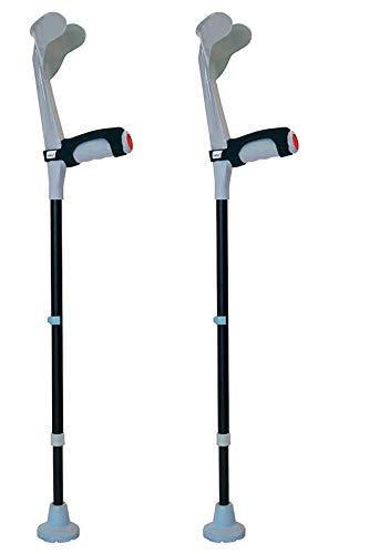 KMINA - Muletas adulto regulables aluminio, Muletas ortopédicas, Muletas ergonomicas, Muletas adulto acolchadas, Muleta COMFORT PLUS Pack de 2 unidades color gris ⭐