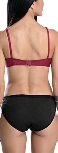 FIMS - Fashion is my style Cotton 1 Bra & 1 Panty Set for Women Bra Panty Set Bra Panty Set for Women with Sexy Undergarments Lingerie Set for Women for Sexy Honeymoon Multicolour Size-34 Maroon