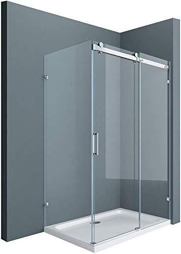 Sogood Eck-Duschkabine Eckdusche Ravenna17-2 100x120x195cm Duschabtrennung mit Schiebetür ESG-Sicherheitsglas Klarglas 4-Punktbefestigung inkl. beidseitiger Easy-Clean-Beschichtung
