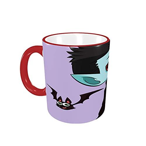 Taza de café Halloween Kid Dracula and Bat Lavanda Tazas de café Tazas de cerámica con Asas para Bebidas Calientes - Latte, Tea, Cocoa, Coffee Gifts 12 oz,Red