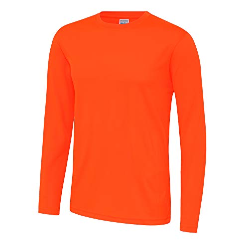 Just Cool - Camiseta Deportiva Transpirable tecnología Neoteric™ de Manga Larga para Hombre - Running/Gym/Deporte (2XL) (Naranja eléctrico)