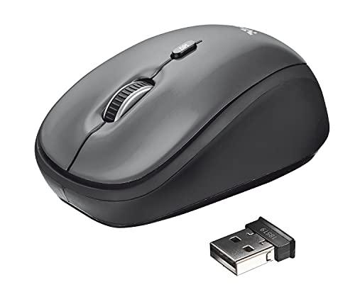 Trust Yvi Mouse Wireless, Mause Senza Filo, 800 1600 DPI, 8m di Portata Wireless, Microricevitore USB Riponibile, PC Laptop Mac Chromebook - Grigio
