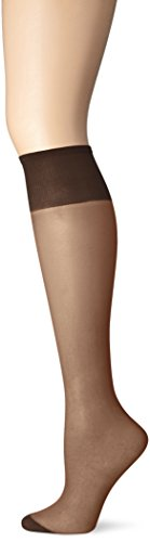 Just My Size Women's 4-Pack One size Knee High Panty Hose, Off Black, One Size