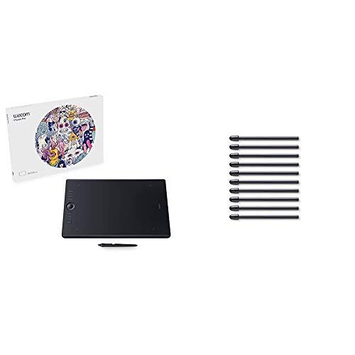 Wacom Intuos Pro Stifttablett Größe L, Grafiktablett (inkl. Wacom Pro Pen 2 Eingabestift mit verschiedenen Spitzen) & ACK22211 Set mit 10 Standard-Spitzen für Pro Pen 2, Schwarz