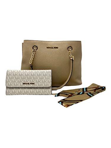 MICHAEL KORS Teagen Large Chain Strap Satchel Leather Shoulder Bag Bundled w/Wallet & Satin Scarf (Beige)